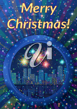 Christmas Holiday Background, Round Porthole Window on Blue Wall with Night City Landscape, Skyscrapers, Shining Fireworks and Place for Text. Eps10, Contains Transparencies. Vector