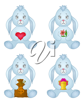 Rabbits, little bunny holds gifts in paws: red heart, holiday box, money bag, flower. Vector