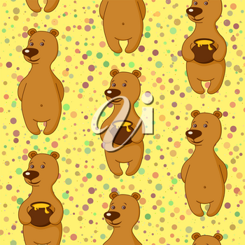 Seamless Holiday Background, Teddy Bears with Honey Pots. Tile Pattern with Funny Cartoon Characters. Vector