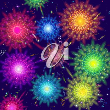 Holiday Background with Various Colorful Fireworks, Sparks and Flashes. Eps10, Contains Transparencies. Vector