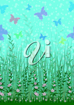 Colorful Flying Butterflies on Sky above Green Grass and Flowers. Nature Landscape Background, Tile Pattern for Your Design. Eps10, Contains Transparencies. Vector
