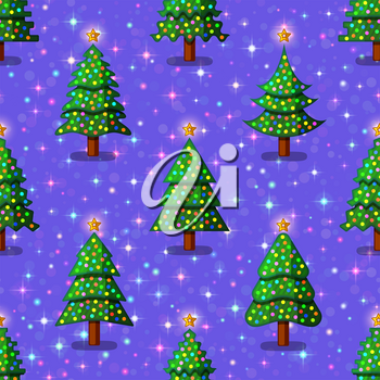Christmas Seamless Background for Holiday Design, Green Fir Trees with Decoration, Tile Holiday Pattern with Stars. Vector
