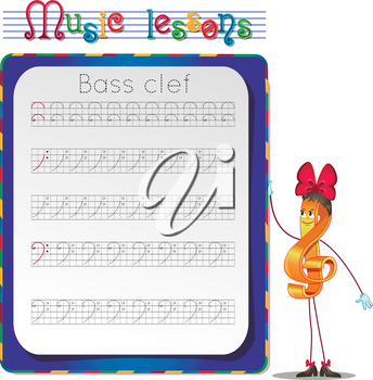 Music lessons, exercises for children. development of skills for writing and drawing. Handwriting Practice Worksheets. Draw a bass clef.