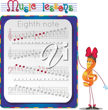Music lessons, exercises for children. development of skills for writing and drawing. Handwriting Practice Worksheets. Draw a eighth note