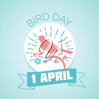 Calendar for each day on April 1. Holiday - Bird Day. Icon in the style of a modern retro