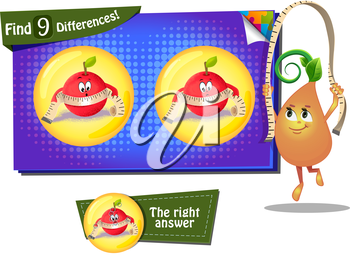 Visual Game for children. Find 9 differences the funny apple
