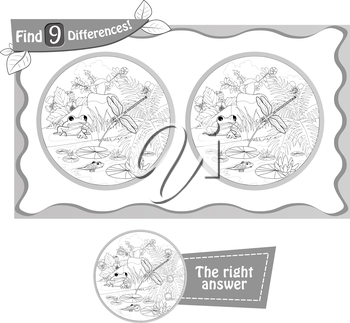 visual game, coloring book for children and adults. Task to find 9 differences in the summer illustration  with  forest insects. black and white vector illustration