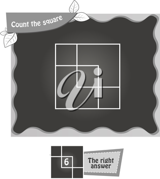 visual game for children. Task: count the squares. black and white vector illustration