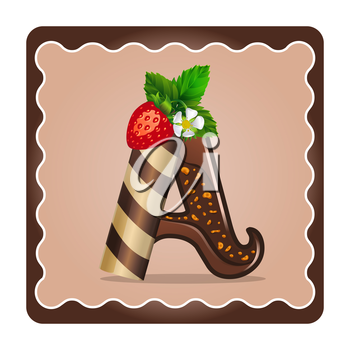 Cards for children for learning the alphabet. Letter a as chocolate, in the form of candies and cakes . Vector Illustration
