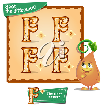 Visual Game for children. Task: Spot the difference letters f