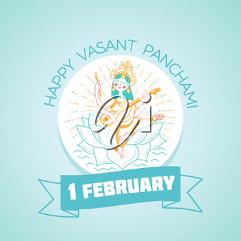 Calendar for each day on February 1. Greeting card. Holiday - Happy Vasant Panchami Saraswati. Icon in the linear style
