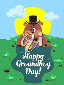 Greeting card February 2.   Happy groundhog day illustration. Vector marmot