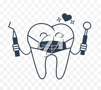 Dentist concept in the form of a tooth in a mask. Icon in the linear style