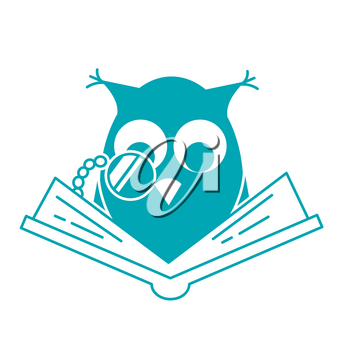 concept of loving reading in the form of an owl reading book. Icon in linear style