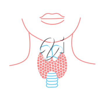 Icon of thyroid structure.  Icon in the linear style