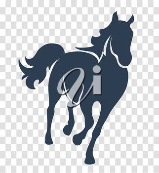 silhouette horse, icon on white and black background one line for the logo, sign, symbol