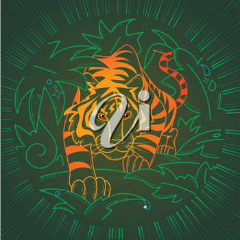 Tiger icon in nature, in the wild in the jungle on the hunt. illustration in the linear style