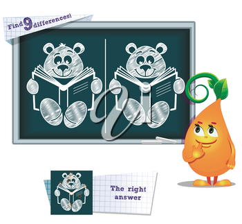 visual game for children and adults. Task to find 9 differences in the illustration on the school board
