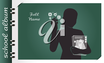 template of a school album, in the form of a silhouette of a child with elements chalked on a chalkboard in the form of childrens dreams about the future profession or a hobby of a child