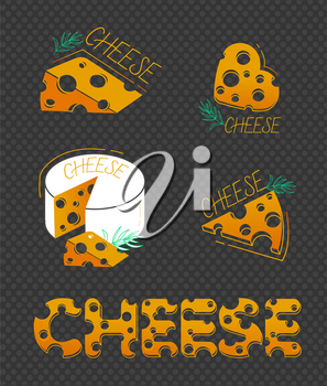 Slices of cheese and the inscription of cheese in a flat style on black background.  Set of cheese icons