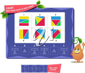 educational game months of the year for kids and adults. Сoloring book iq. Task game count how many parts in each shape