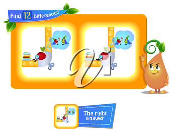 visual game for children and adults. Task to find 12 differences in the summer illustration  with  funny fruits.