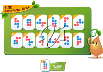 educational game for kids and adults. development of logic, iq children. Task game find superfluous figure