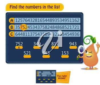 educational game for kids, puzzle. development of spatial thinking in children. Task game find the numbers in the list