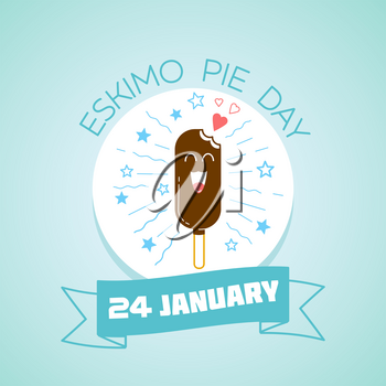 Calendar for each day on January 24 Greeting card. Holiday - International Eskimo Pie Day. Icon in the linear style