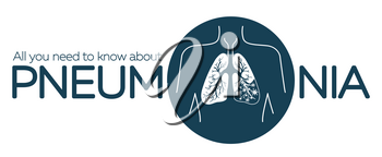 information banner about pneumonia in the form of anatomy of the lungs and bacteria causing disease. illustration in the linear style