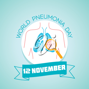 Calendar for each day on november 12. Greeting card. Holiday -  World Pneumonia Day. Icon in the linear style
