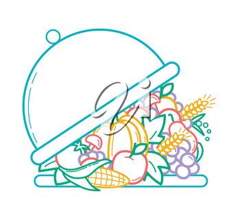 concept of nutrition, health, abundance, menu, vegetarianism as a opening tray and a variety of fruits and vegetables. Icon  in the linear style