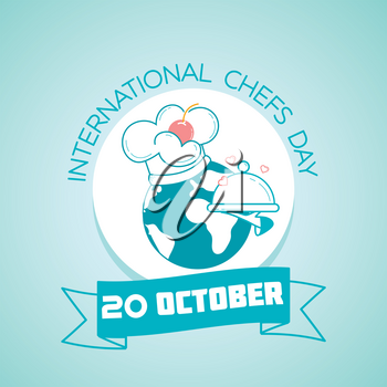 Calendar for each day on october 20. Greeting card. Holiday -   International Chefs Day. Icon in the linear style