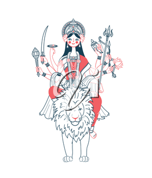 Icon of Goddess Durga with many hands riding on a lion  (navratri). Icon in the linear style  two colors
