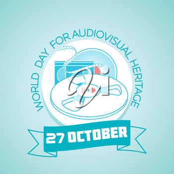 Calendar for each day on october 27. Greeting card. Holiday -  World Day for Audiovisual Heritage. Icon in the linear style