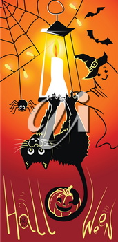 illustration, greeting card, on a Halloween holiday in the form of a funny head-hanging black cat, smiling ghost and pumpkin. Black silhouettes on an orange background