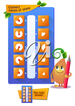 educational game for kids. development of logic, iq. Task game connect halves of shape