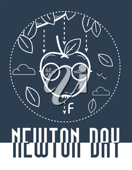 educational banner for the holiday Newton Day. black and white illustration