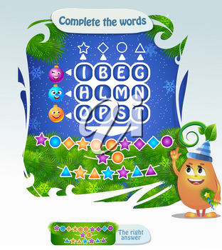 Words puzzle educational game for children. Task: Complete the words using cipher code. Christmas game for children and adults  Place the letters in right order.