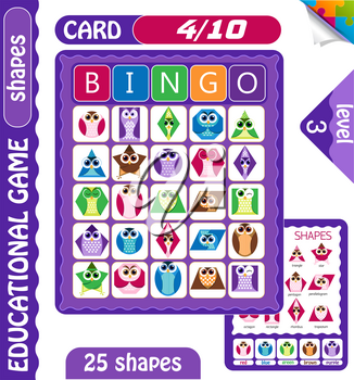 educational bingo game for preschool kids with shapes in the form of owls. Bingo cards. Cartoon vector illustration.