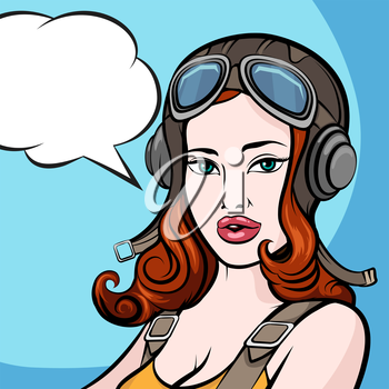 Beautiful girl in pilot helmet and empty speech bubble. Comic Pin up style.