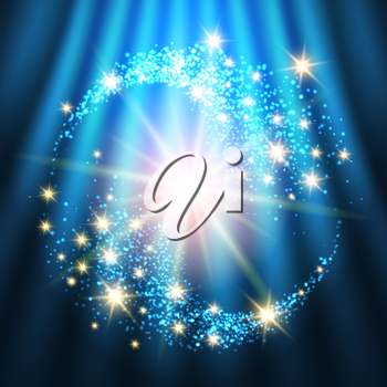 Bright Holiday Background With Glowing Stars and Lights. Colorful illustration