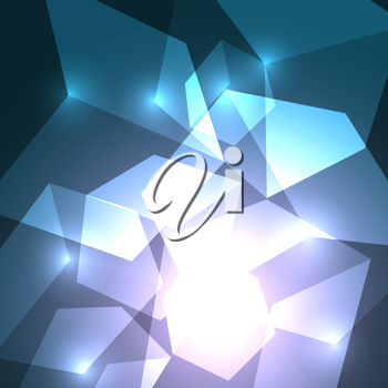 3d bright abstract background with transparent shining cubes