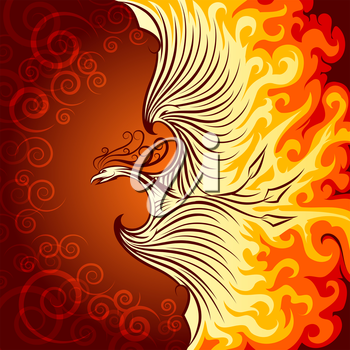 Decorative illustration of flying phoenix bird. Phoenix in burning flame.