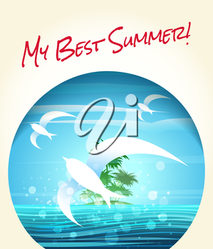 Summer or vacation theme poster. Tropical seascape with flying seagulls and lettering My Best Summer!. Free font Rock Salt used.