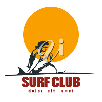 Young man on the beach with surfboard. Surf club Label or emblem. Isolated on white.