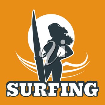The woman with surfboard against ocean wave. Surfing club emblem.