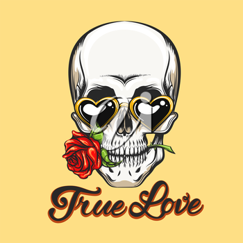 Human skull in heart shaped glasses with rose flower in a mouth and hand-written lettering True Love. Vector illustration in tattoo style or t-shirt design.