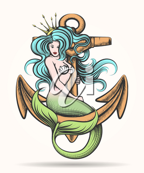 Beauty blue haired Siren Mermaid with golden crown sitting on the rusty anchor. Colorful Vector illustration in tattoo style.