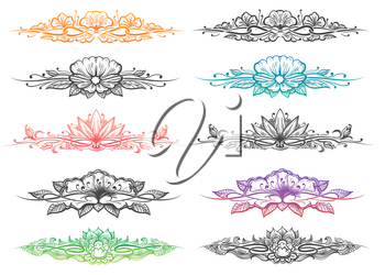Set of hand drawn dividers and headers. Leaves, flowers, curly branches isolated on white. Ornate design elements. Vector illustration.